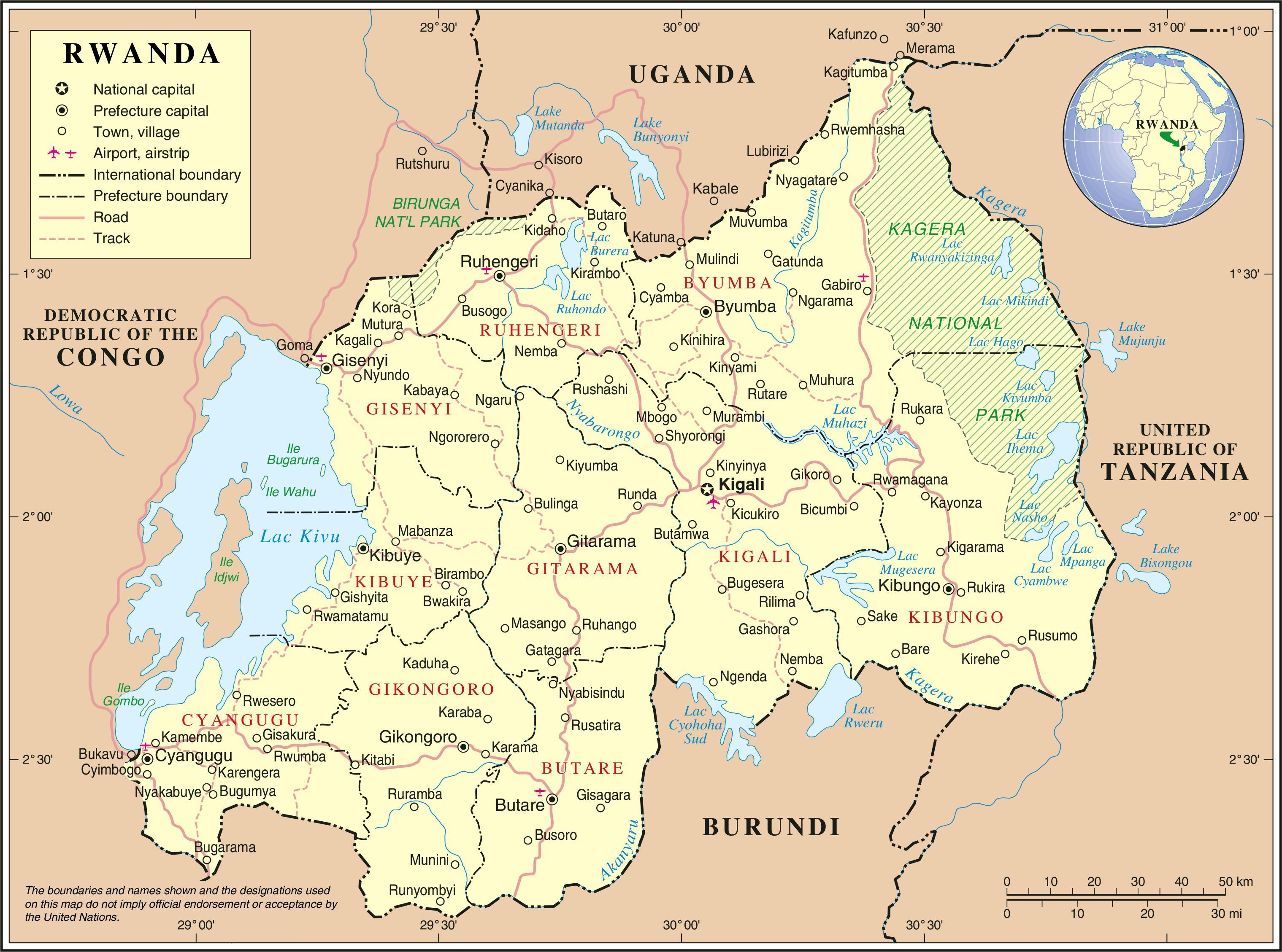 Hallinto Kartta Ruanda Kartta Hallinnollinen Kartta Ruanda Ita