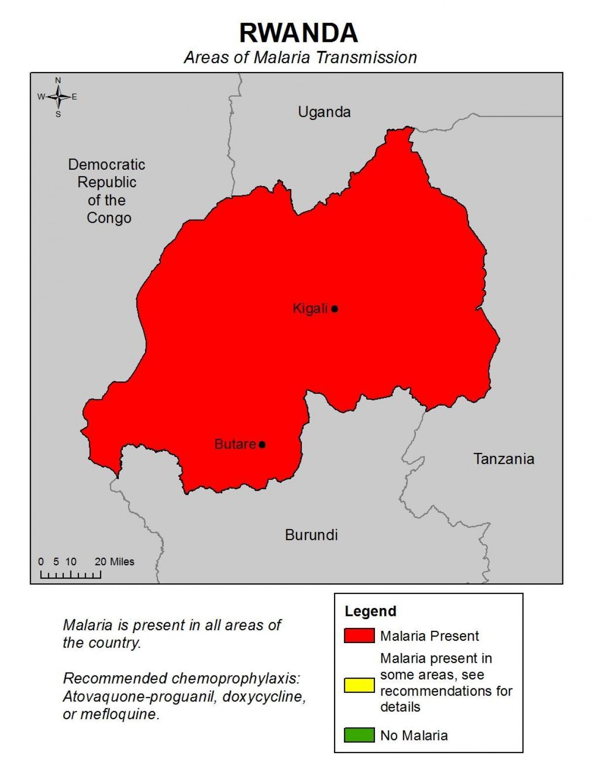 Ruandan Malaria Kartta Kartta Ruandan Malaria Ita Afrikka Ja